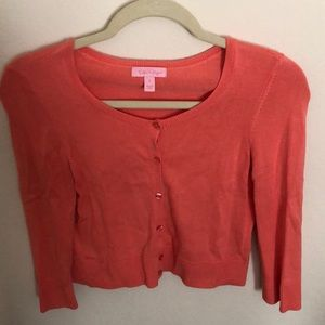Lilly Pulitzer cropped cardigan. Peach color